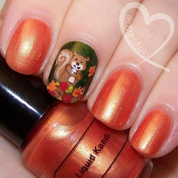 Cute hand painted #squirrel #nailart for #Autumn!