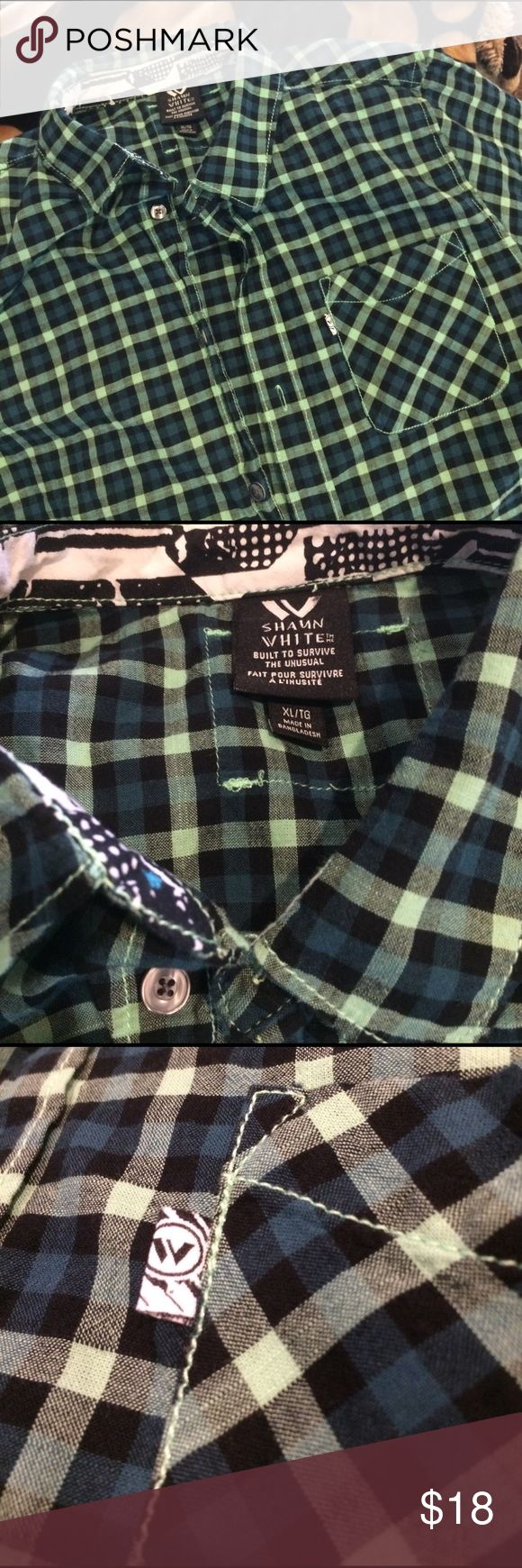 Shaun White Olympic Gold Medalist skate shirt. Olympic Gold Medalist Shaun White's styling skate shirt features green, black and blue checks with sweet pocket and button logos. He'll look good!  New condition. Size XL boys. Shaun White Shirts & Tops Button Down Shirts