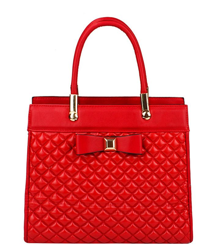 Quilted Look Handbag with Bow Red - Abfabulous Fashion