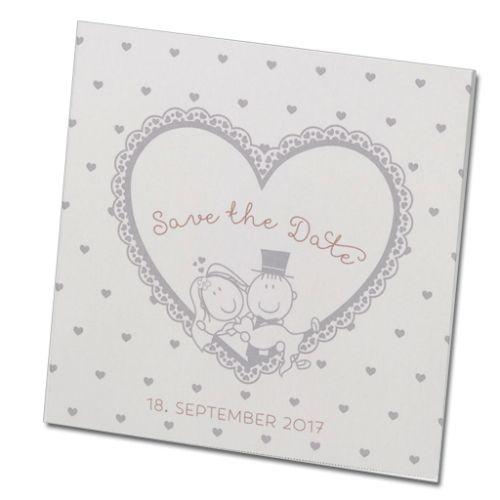 Humorvoll und edel. Fröhliche Save the Date Karten aus schimmernden Premiumpapier vor der Hochzeit versenden.