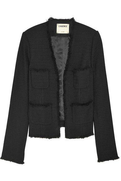 L'Agence - Jules Frayed Bouclé Jacket - Black - US12