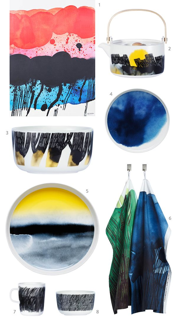 Marimekko: Weather Diary collection. inspired by Finnish weather patterns and named for islands in the archipelago, was designed by Aino-Maija Metsola.