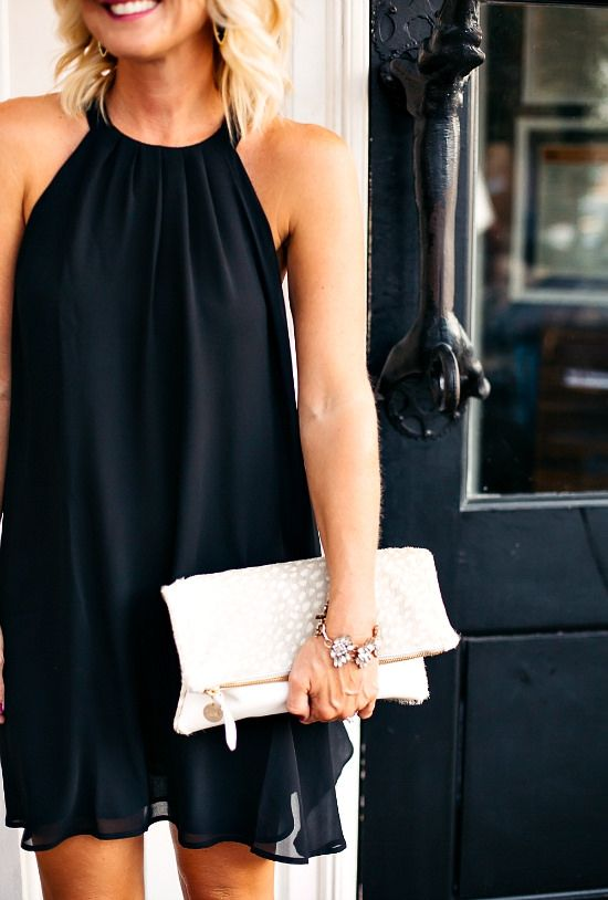 Your go-to LBD is the perfect base for any party look. Opt for one in a fun silhouette, like a shift with a high neckline to spice things up.