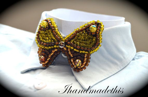 Yellow beaded butterfly bow tie beads embroidery by Ihandmadethis