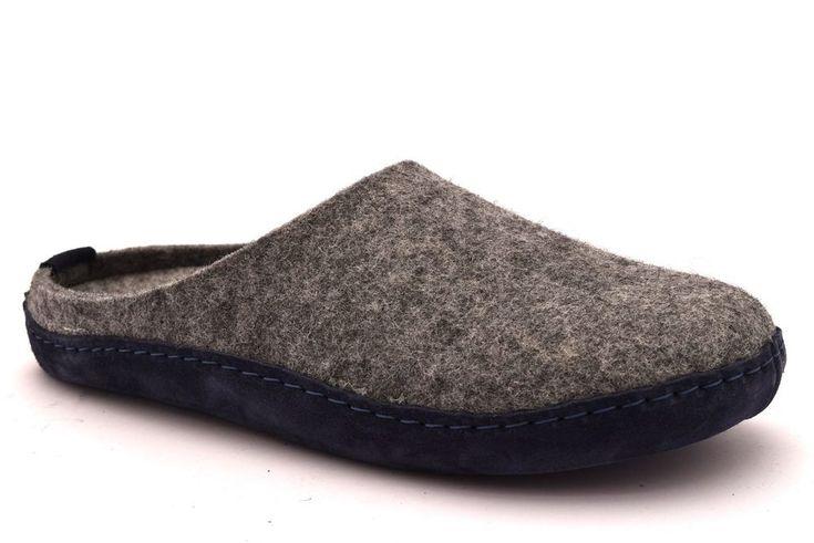 GRUNLAND REPS CI0795 blu grigio  ciabatte unisex panno fibbia