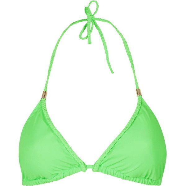 TopShop Braided Triangle Bikini Top (750 PHP) ❤ liked on Polyvore featuring swimwear, bikinis, bikini tops, green, beach bikini, triangle swim wear, green bikini, triangle swimsuit top and triangle bikini top