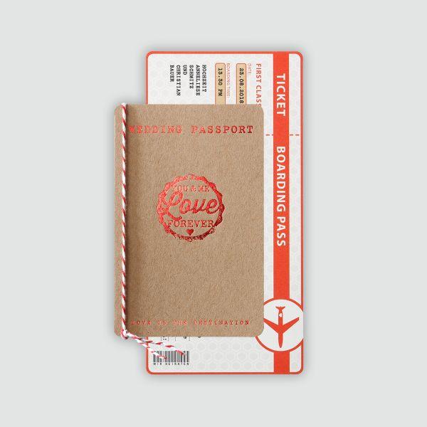 Aufgrund der hohen Nachfrage ist diese Karte voraussichtlich erst ab dem 25. November wieder lieferbar! Wir bitten um Ihr Verständnis!    Hochzeitsreisepass aus Packpapier mit passender Bordkarte.