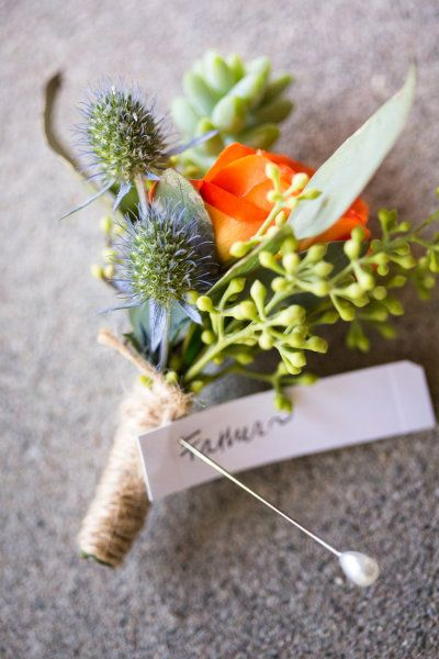 This is such a sweet looking #wedding boutonniere...love it! From http://stylemepretty.com/gallery/picture/863125  Photo Credit: http://robinoneillphotography.com/  Flowers by http://celsiaflorist.com/