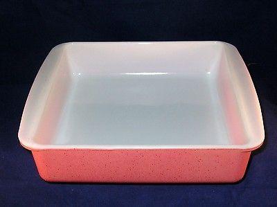 Vintage Pyrex Desert Dawn 222 Pink speckled 8 x 8 baking dish 1950's - 1960's