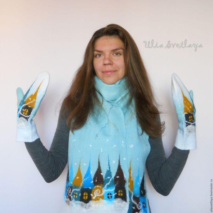 """Купить Шарф и варежки """"Зимняя сказка"""" комплект мятный лед - варежки валяные, шарф валяный"""