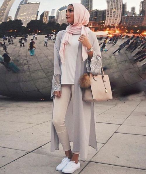 neutral-hijab-long-cardigan- Smart and cute hijab outfits http://www.justtrendygirls.com/smart-and-cute-hijab-outfits/
