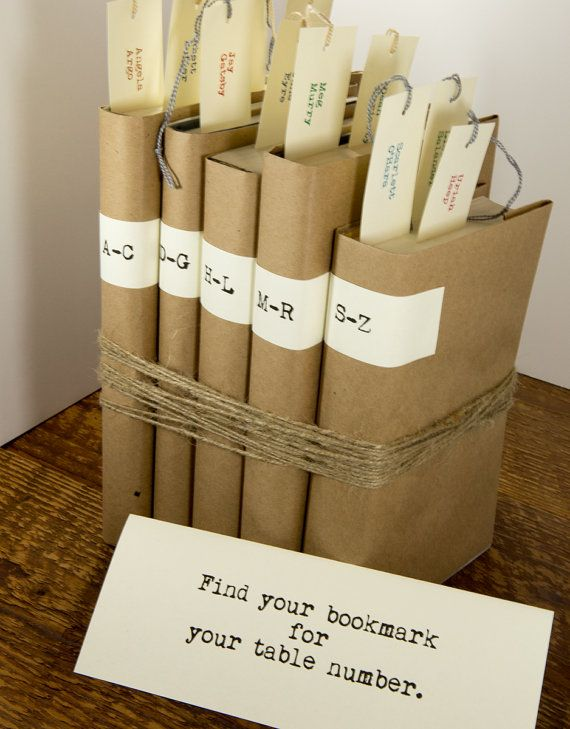 Unique seating chart alternative with bookmark place card wedding favor