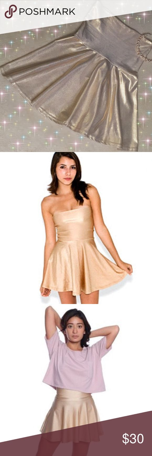 AA High-waist Skater Skirt/Tube Dress American Apparel Tricot High-waist Skater Skirt is meant to double as a short tube dress. Sparkly Creme/Gold Color. American Apparel Skirts Circle & Skater