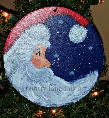 Hand painted Christmas ornament Santa moon by countrylanefolkart