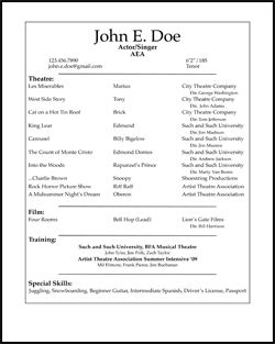 Student Actor's Resume