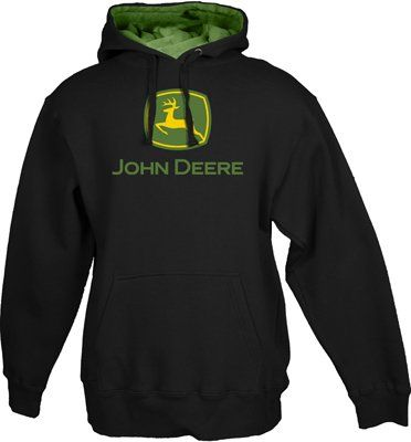 JOHN DEERE CLASSIC LOGO MENS BLACK HOODED SWEATSHIRT - Listing price: $40.00 Now: $32.99 + Free Shipping