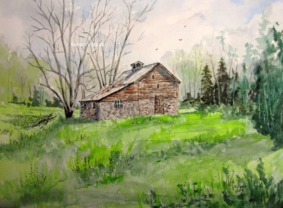 Watercolor Landscape Watercolor Barn Painting Archival Print