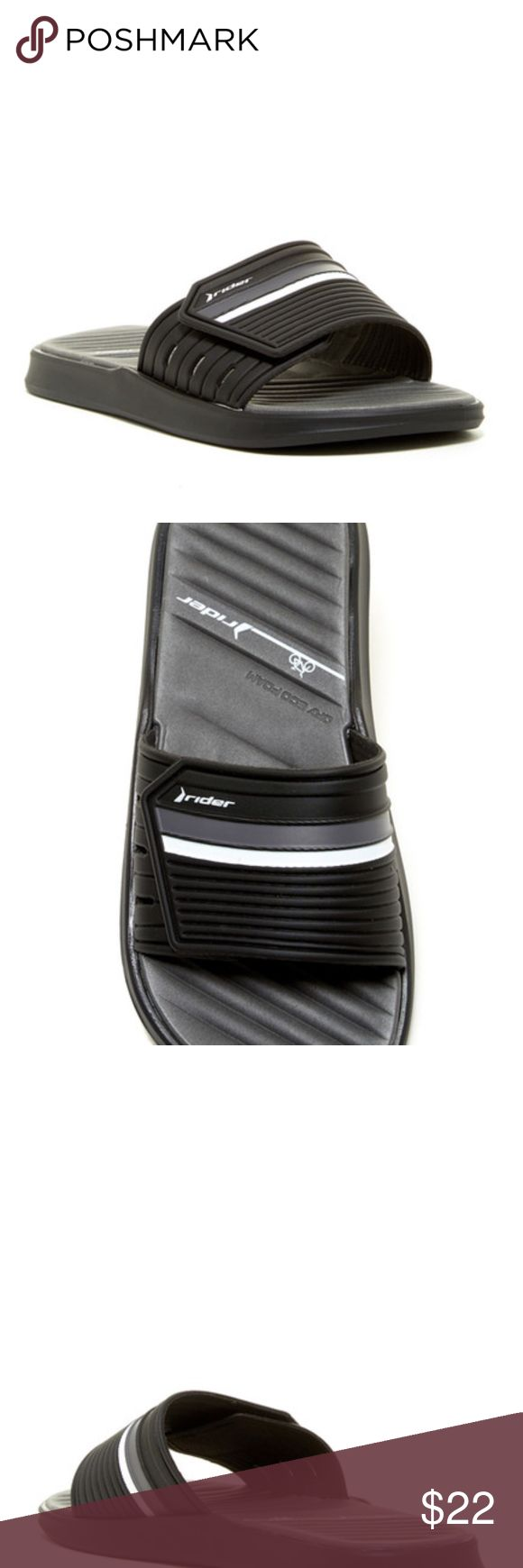 Men's Rider slide sandal size 11 Black Gray NEW IN BOX, SUPER SOFT INSIDE  Sizing: Whole sizes only; for 1/2 sizes order next size up.  - Open toe - velcro strap closure - Dry-Eco foam footbed - Slip-on - Grip sole - Imported Rider Shoes Sandals & Flip-Flops