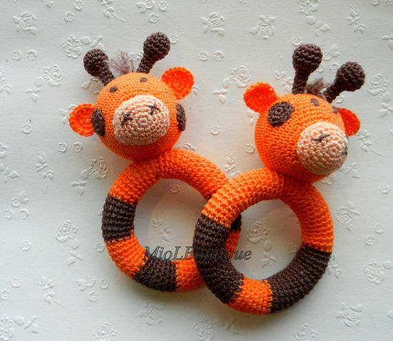 Crochet baby toy, Teething baby toy,  Grasping and Teething Toys  giraffe, stuffed toys Gift for baby!
