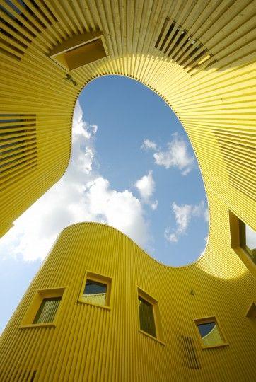 TELLUS NURSERY SCHOOL'S ARCHITECTURE: Building, Sky, Negative Spaces, Stockholm Sweden, Videgård Architect, Architecture, Yellow, Nurseries Schools, Tellus Nurseries