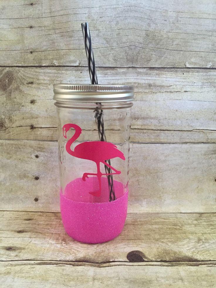 Pink Flamingo Glitter Mason Jar Tumbler 24 oz - Ready To Ship by TheCraftyMail on Etsy https://www.etsy.com/listing/291290821/pink-flamingo-glitter-mason-jar-tumbler