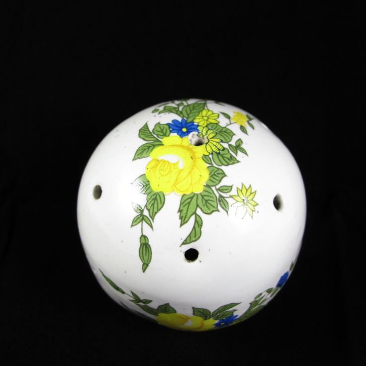 Vintage Porcelain Ball Shaped  Pomander with Floral Pattern (yellow and blue flowers) by ArtVintageCraftShop on Etsy