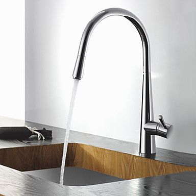 Contemporary Solid Brass Chrome Finish Pull Out Kitchen Faucet – AUD $ 157.26