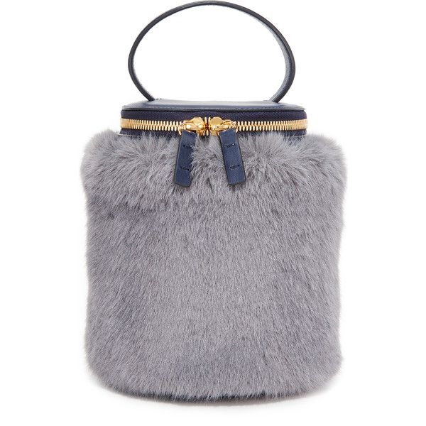 MILMA Detachable Faux Fur Cylinder Bag ($335) ❤ liked on Polyvore featuring bags, handbags, shoulder bags, navy, navy blue purse, faux fur purse, navy handbags, shoulder bag purse and shoulder hand bags
