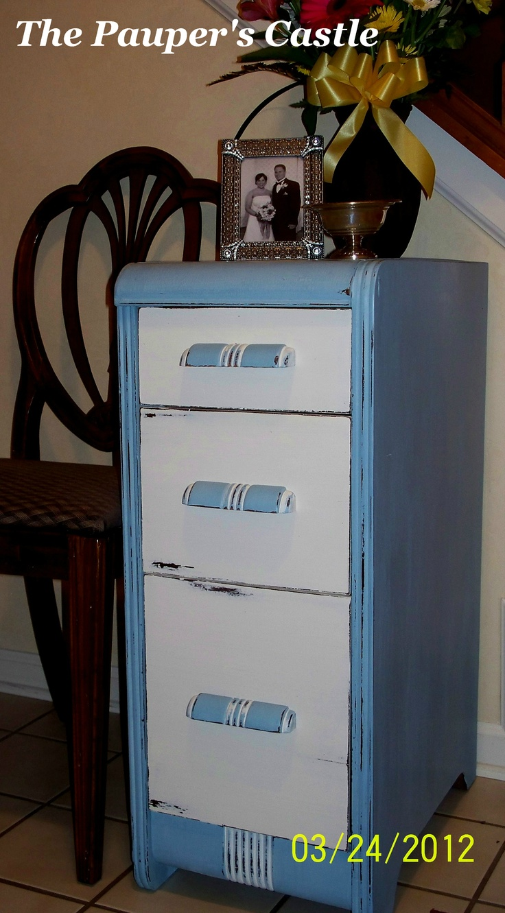 memphis blue and vintage white this was once part of a vanity that had been night standsbig