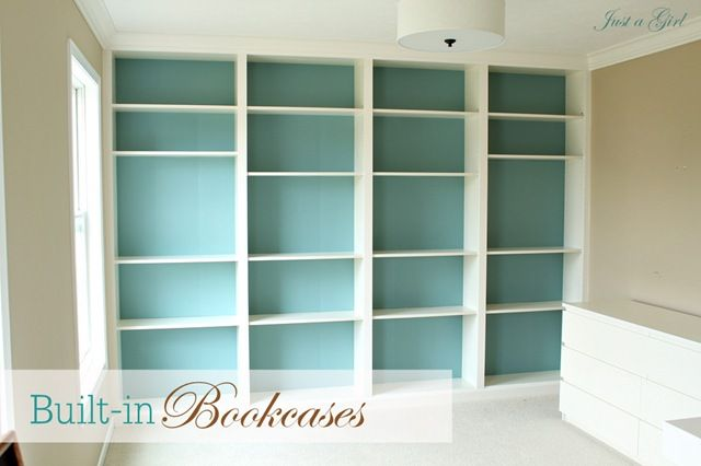 """Ikea Built-in    Cost breakdown:    4 Billy Bookshelves with 4 20"""" extenders= $280 ($300 with tax)  Crown Molding= $15.00 (more if you want to do the whole room as we did)  Quart of paint (Benjamin Moore Boca Raton Blue)= $13.00  Trim pieces from Lowes 5x$8.00= $40  Total Cost= $368  http://justagirlblog.com/billy-bookcases-diy/"""