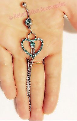 Blue Rhinestone Heart  Navel Belly Button Ring Piercing Body Jewelry Barbell