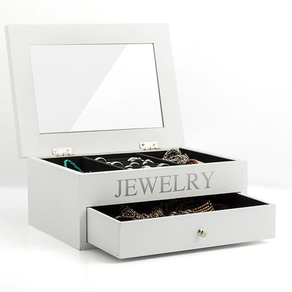 Wooden Jewellery Box with Mirror and Drawer