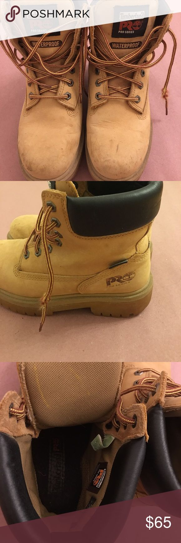 Timberland pro series women's 6.5 Excellent pair of women's authentic timberland pro series boots water proof size 6.5 runs a little large could fit women's 7. Price firm no trades Timberland Shoes Winter & Rain Boots