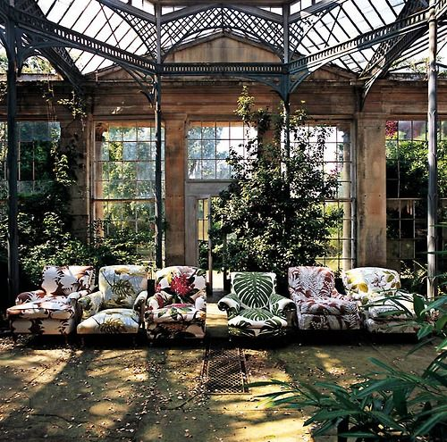 "old orangerie ~ interesting chair ""line-up"" tho??!"