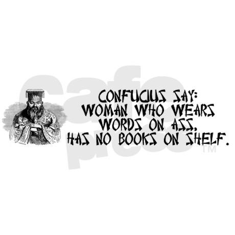 Confucius say no books on shelf bumper sticker check us out stinkynightie com