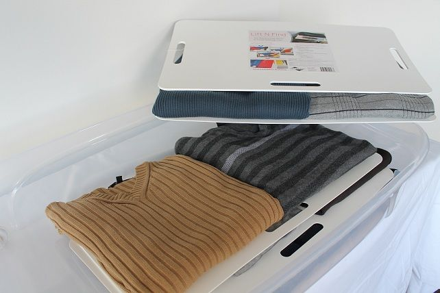 Get your storage bins organized with lift n find clothing trays!