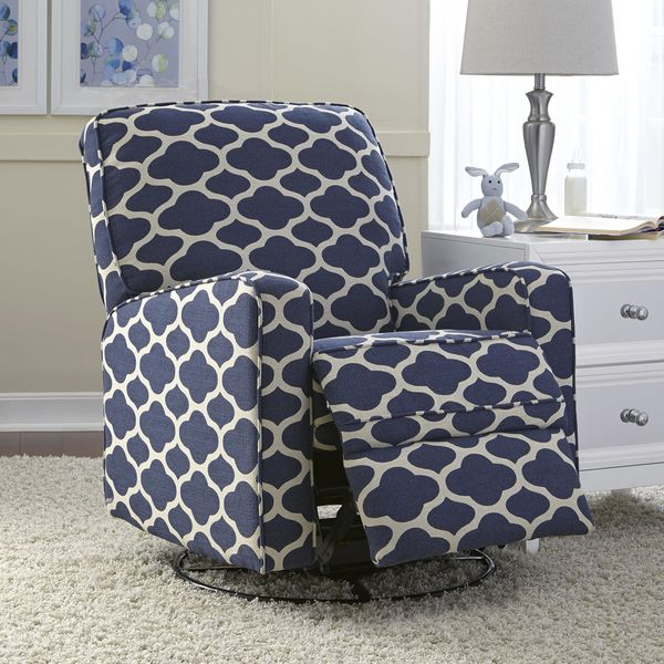 Leo Blue Nursery Swivel Glider Recliner Chair