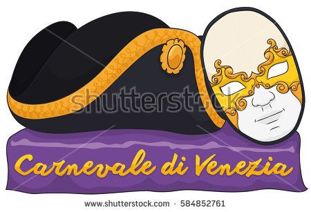 Banner with traditional male volto mask and tricorn hat over purple fabric commemorating the Venice Carnival (written in Italian).