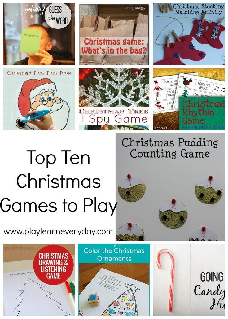 A list of the top ten Christmas games for young children to play and learn from during the holidays.
