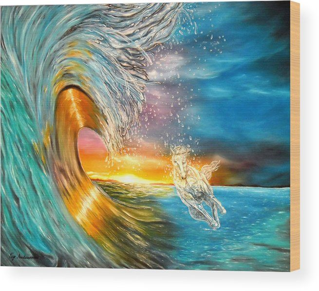 Wood Print,  sunset,ocean,scene,waves,seascape,sunrise,nature,big,high,water,rough,wild,crashing,breaking,horse,running,light,crystal,fantasy,beautiful,colorful,multicolor,blue,gold,golden,bright,impressive,image,fine,oil,painting,contemporary,scenic,modern,virtual,deviant,wall,art,awesome,cool,artistic,artwork,for,sale,home,office,decor,decoration,decorative,items,ideas