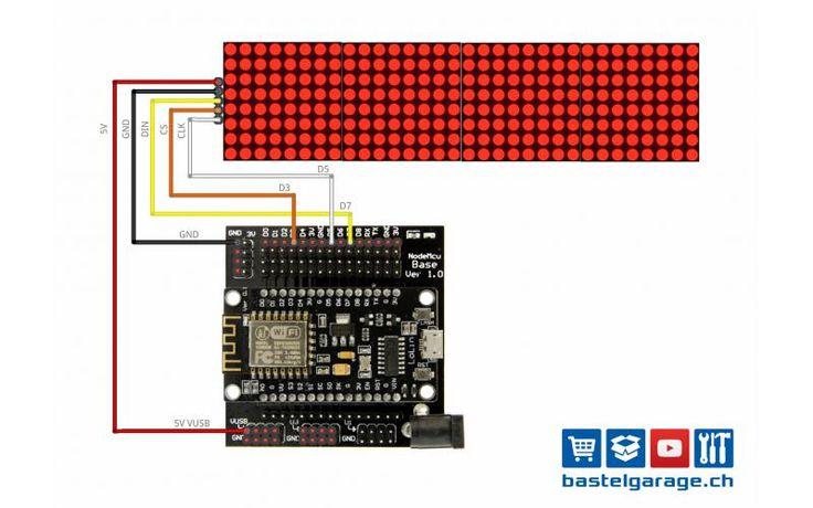 Programm Beispiel zum ansteuern von einem 8x8 DOT Matrix Display mit MAX7219 Treiber. Verbinde dich mit deinem Handy mit dem ESP8266 und schicke drahtlos Text Nachrichten auf das Display.