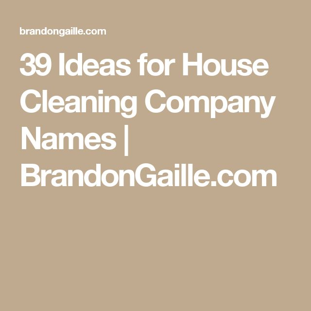 39 Ideas for House Cleaning Company Names | BrandonGaille.com