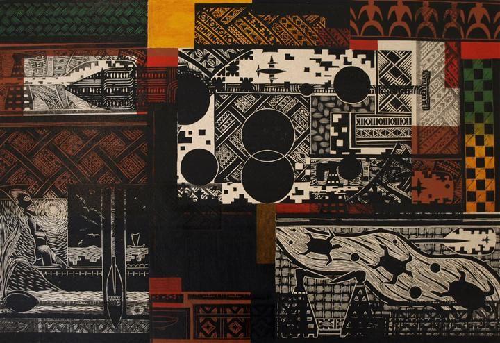 Navigation Patterns by David Teata - Woodblock print