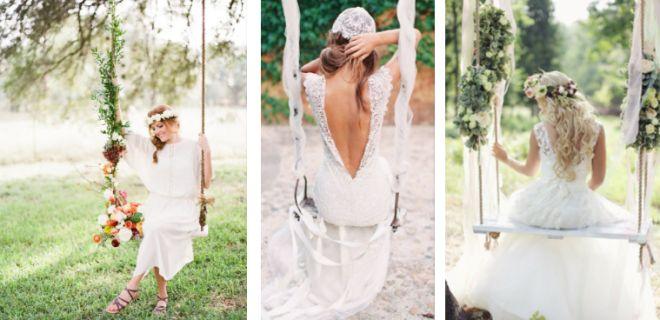 Collage schommel bruid