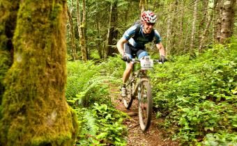 Biking on trails in Clearwater bc in wells gray to see waterfalls