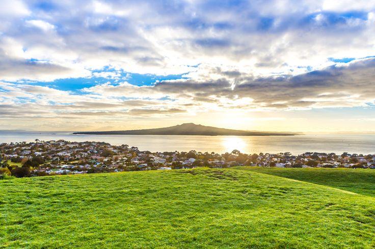 Sunrise over Auckland's iconic Rangitoto Island