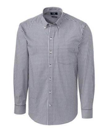 Cutter & Buck Men's Big & Tall Long Sleeves Stretch Gingham Shirt – Charcoal