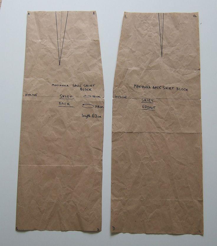 Basic Skirt Block - how to turn a basic block into an a-line skirt =]