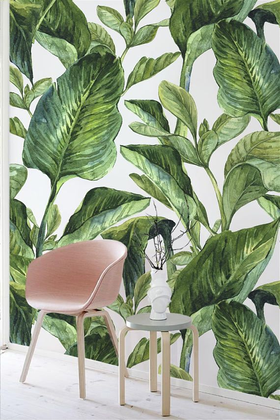Removable Wallpaper With Banana Leaf Print Banana Leaves Peel Etsy In 2020 Removable Wallpaper Banana Leaf Print Pattern Wallpaper