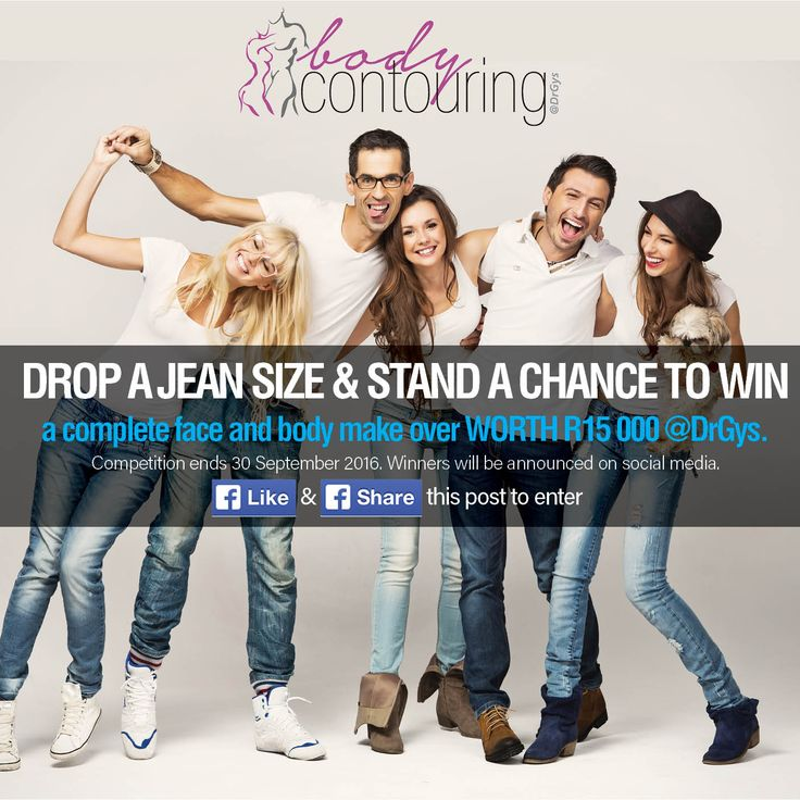 Like and Share this post to enter our Face and body #MakeOver worth R15000. #Competition ends 30 September 2016. DROP A JEAN SIZE BEFORE SUMMER! (Exclusive Offer and Competition) With our 1 + 1 #Promo Buy 1 #Velashape3 Treatment and get 1 for free this month only! Call Us Now: 087 802 2838 | hello@drgys.com for a free consultation Velashape3 is a non-invasive #body #contouring treatment for circumferential & #cellulite reduction. #ExclusiveOffer ends 29 July 2016.
